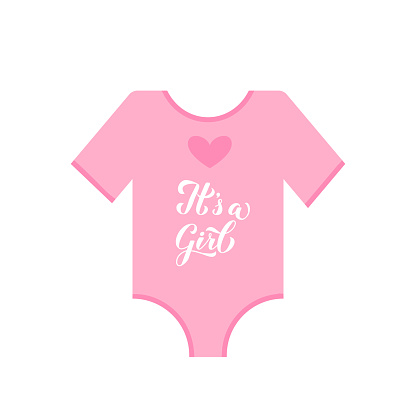 Its a girl calligraphy hand lettering on pink baby onesie. Gender reveal sign. Baby shower decorations. Vector template for invitation, greeting card, banner, typography poster, label, etc