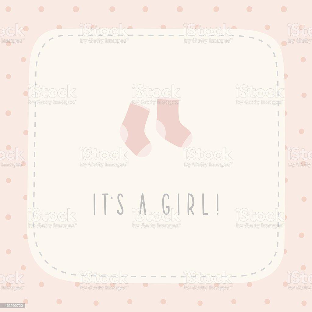 It's a girl greeting birthday card vector art illustration