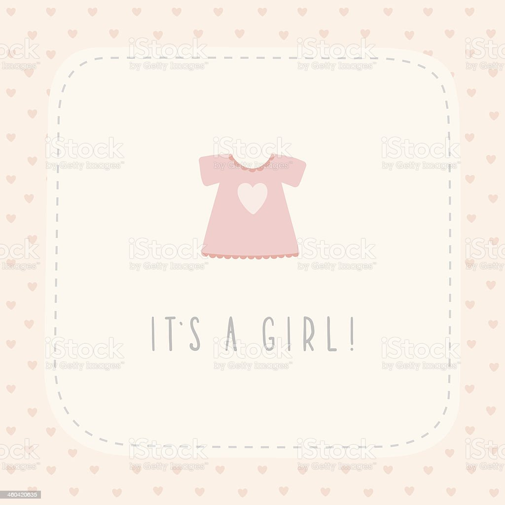 It's a girl greeting card with cute litlle dress vector art illustration