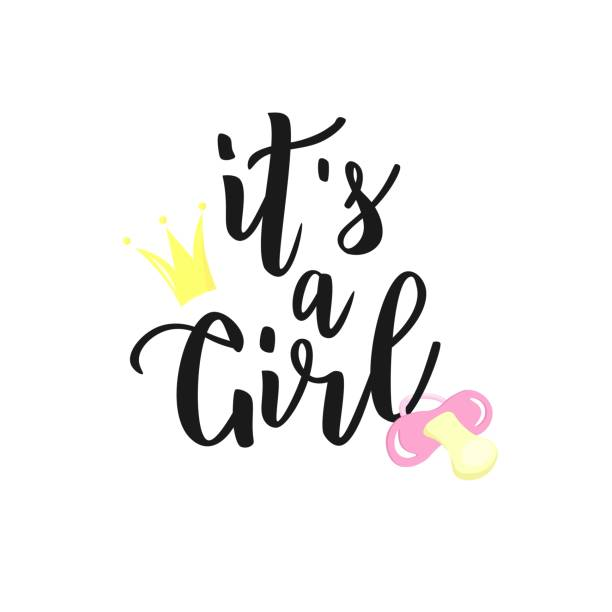 It's a girl hand lettering text with  nipple and crown. Baby shower cards, banner, icon template. Vector illustration. it's a girl stock illustrations