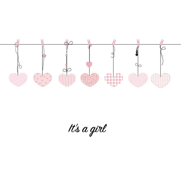 It's a girl. Hanging pink hearts. Baby shower, baby arrival greeting card vector It's a girl. Hanging pink hearts. Baby shower, baby arrival greeting card vector it's a girl stock illustrations