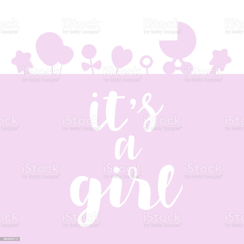 Its a girl lettering baby shower invitation celebration greeting its a girl lettering baby shower invitation celebration greeting card postcard badge m4hsunfo