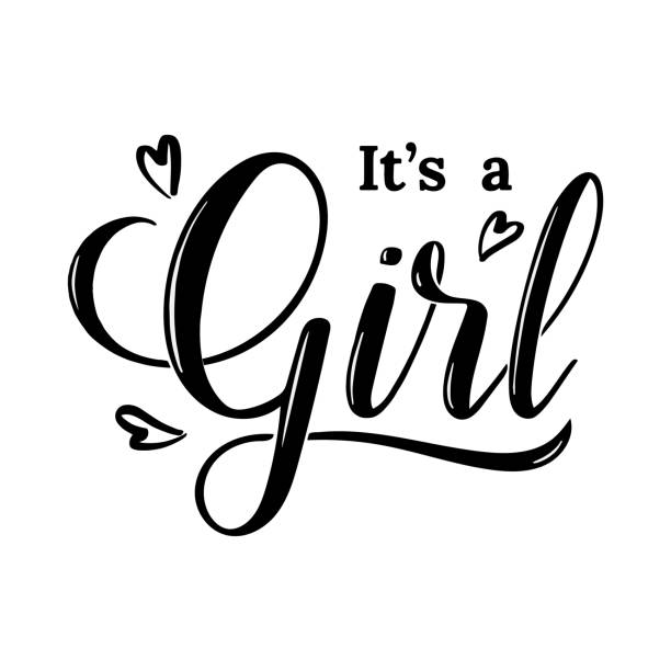 It's a girl modern lettering phrase with hearts. Cute ink vector invitation for a wonderful event. Kids badge tag icon. Inspirational quote card invitation banner, feminine calligraphy background. vector illustration it's a girl stock illustrations