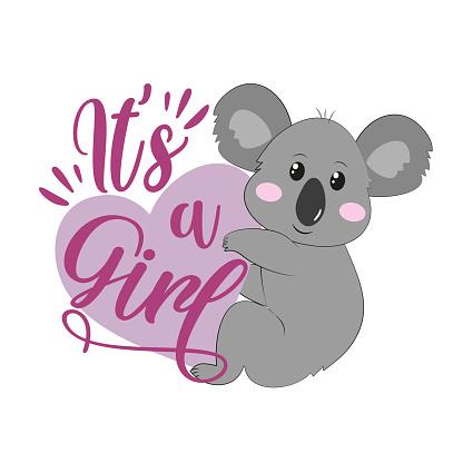 It's a girl- newborn greeting with cute koala.