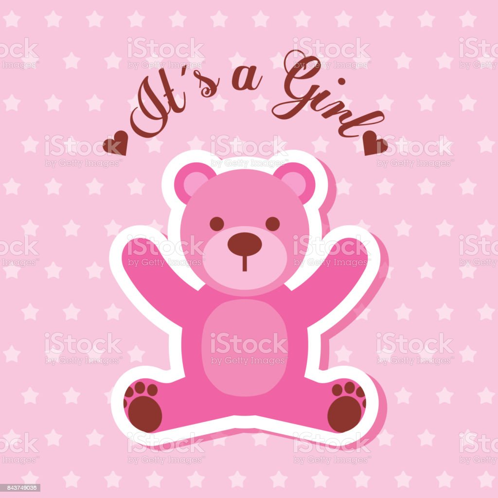 Its a girl pink bear card invitation baby shower stock vector art its a girl pink bear card invitation baby shower royalty free its a girl pink stopboris Image collections