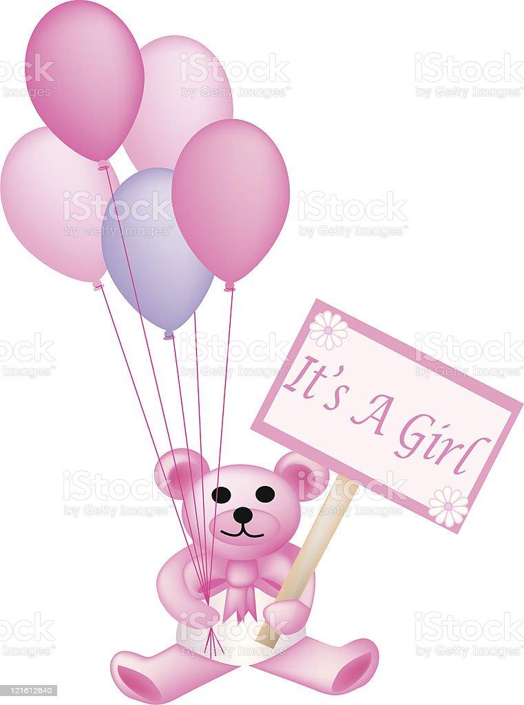 It's a Girl Teddy vector art illustration