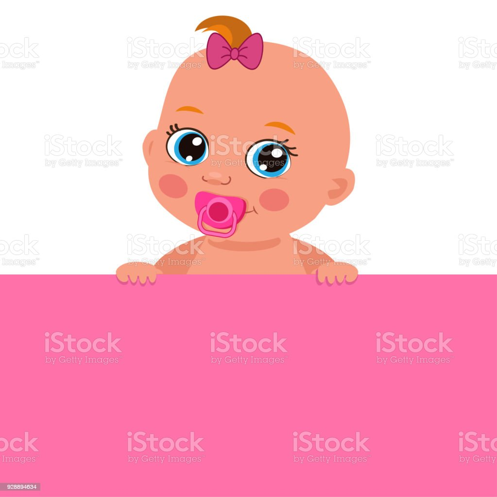 its a girl theme cute baby girl with blank banner vector