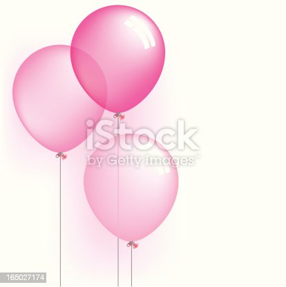 A vector illustration of three pink balloons (gradient mesh and faux transparency). Please note: The gradient mesh tool is exclusive to Adobe Illustrator. You will not be able to edit this file in Corel or Freehand.