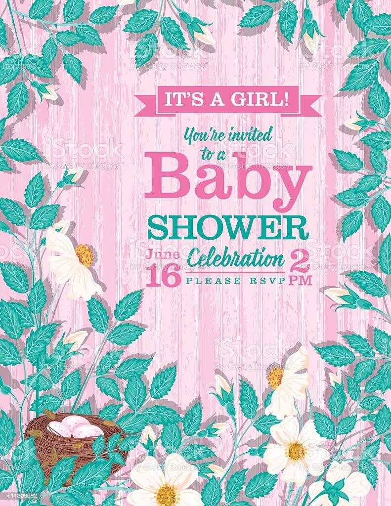 It's a Girl Wild Roses Baby Shower Invitation vector art illustration
