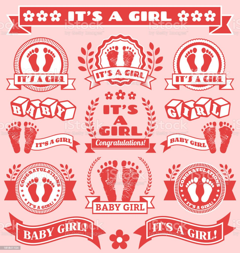 It's a Girls Newborn Baby Footprints Commemoration Pink Badge Collection royalty-free stock vector art