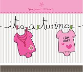 It's a twins baby girl shower invitation