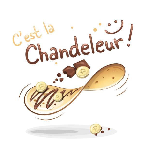bildbanksillustrationer, clip art samt tecknat material och ikoner med det är candlemas i franska: c'est la chandeleur - crepe