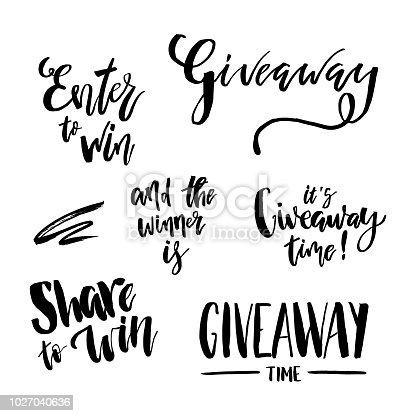 It's Giveaway Time Lettering text set. Typography for promotion in social media isolated on white background. Free gift raffle, win a freebies. Vector advertising.