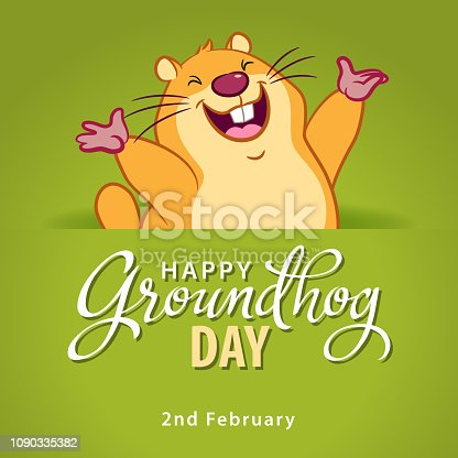 Marmot coming out of burrow, raising hand and welcoming spring on the green background
