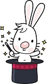 vector drawing of a white rabbit with magic wand comes out of a cylinder