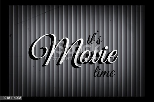 Its Movie Time Banner Template In Silent Film Style Vector Sign On Monochromatic Curtain Background Stock Art More Images Of 1930 1939