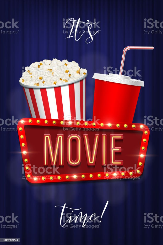 Its Movie Time Banner Template Vector Pop Corn Basket Cola Cup And Sign