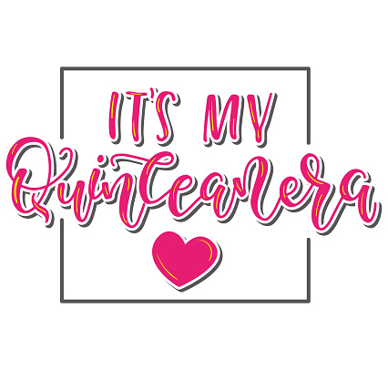 Its my Quinceanera - Spanish lettering its my fifteen years old. Calligraphy for Latin American girl birthday party
