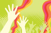 Hands up over green background, dots   lines and flowing stripes of a joyful party, rave, concert or performance.