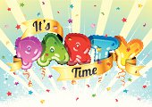 Party shaped balloons, ribbon and confetti. Ideal for Party, New Year's Eve or other event celebration.