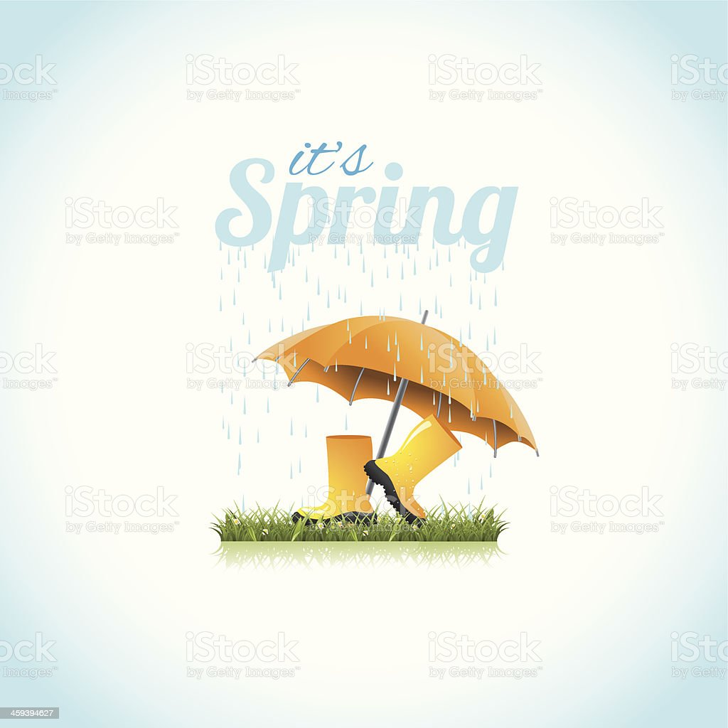 It's spring boots and umbrella vector art illustration