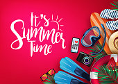 It's Summer Time Realistic Vector Banner in Red Background and Tropical Elements