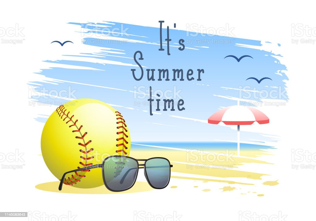 It\'s Summer Time. Sports card. Softball ball with sunglasses and...