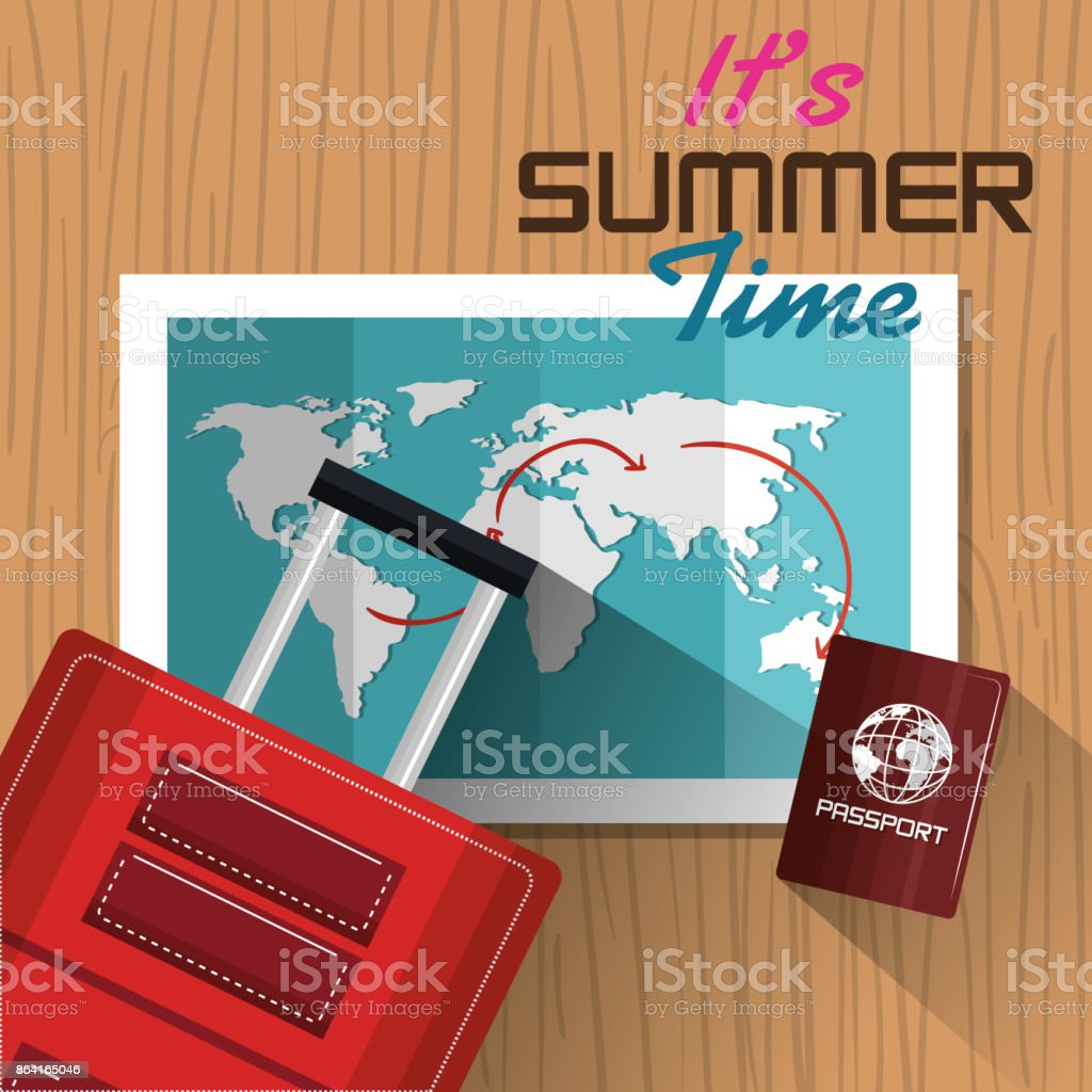 its summer time suitcase passport map design royalty-free its summer time suitcase passport map design stock vector art & more images of bag