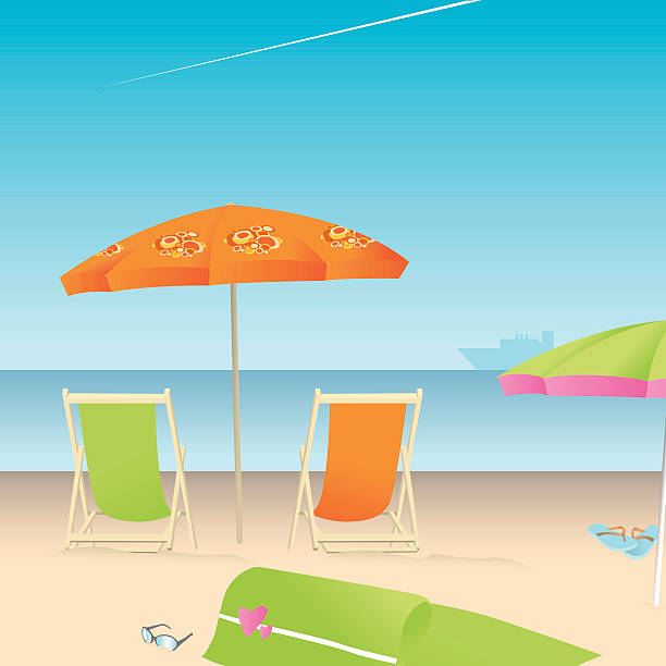 es ist sommer! - sonnenstuhl stock-grafiken, -clipart, -cartoons und -symbole