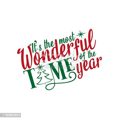 It's the most wonderful time of the year- Christmas text, with hand drawn tree and stars. Good for greeting card and  t-shirt print, flyer, poster design, mug.
