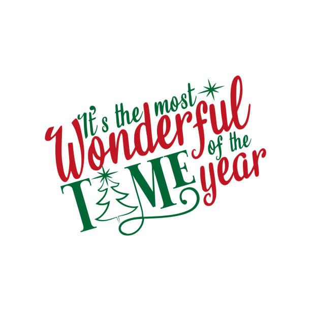 這是一年中最美妙的時間-聖誕文本,手繪的樹和星星。 - 宏偉的 幅插畫檔、美工圖案、卡通及圖標