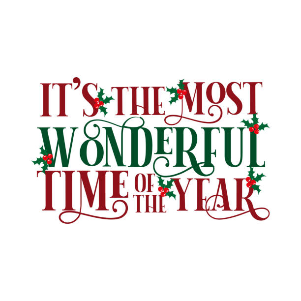 It's the most wonderful time of the year- Christmas text, with hand drawn tree and stars. It's the most wonderful time of the year- Christmas text, with hand drawn tree and stars. Good for greeting card and  t-shirt print, flyer, poster design, mug. lyric stock illustrations