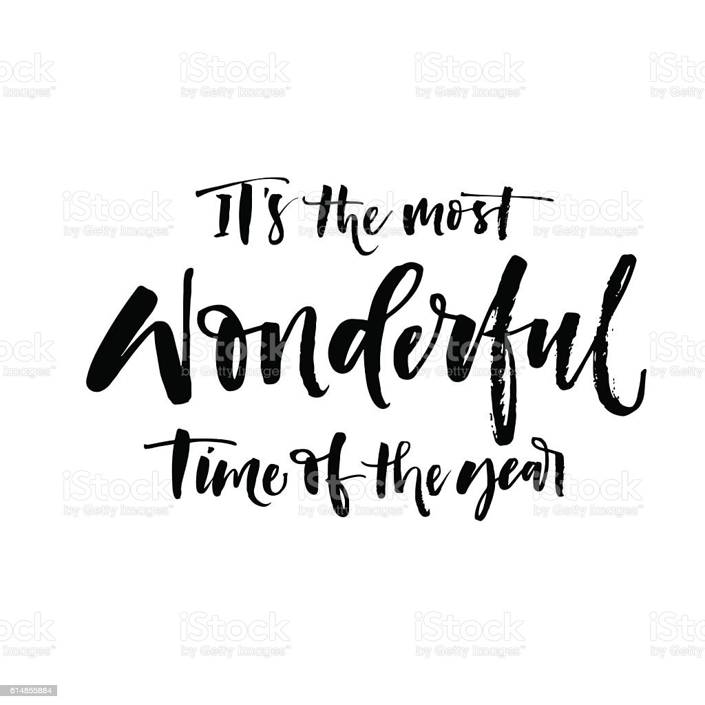 It's the most wonderful time of the year phrase. vector art illustration