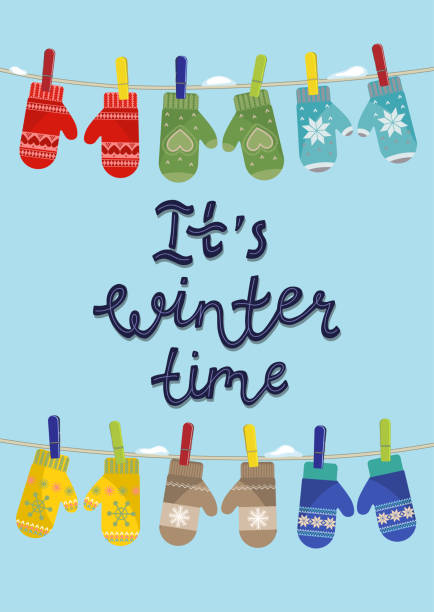 It's winter time It's winter time. Set of mittens hanging on the rope with lettering. Vector illustration. mitten stock illustrations