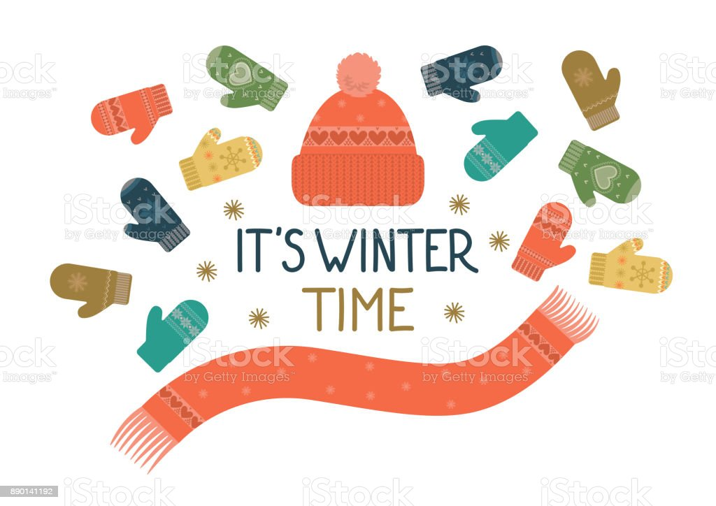 it's winter time vector art illustration