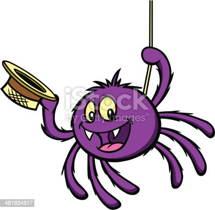 Cartoon Spider hanging from web.