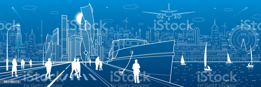 Сity embankment. Ship in the port, modern architecture at background. Town infrastructure. People walk down the street. Evening illuminated highway. Vector design art royalty-free Сity embankment ship in the port modern architecture at background town infrastructure people walk down the street evening illuminated highway vector design art stock vector art & more images of airplane