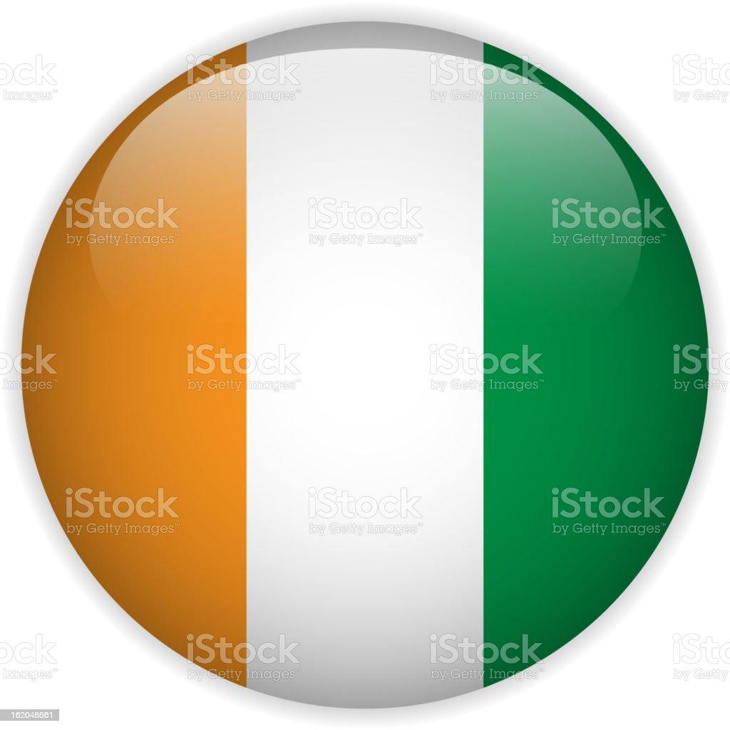 Ivory Coast Flag Glossy Button royalty-free stock vector art
