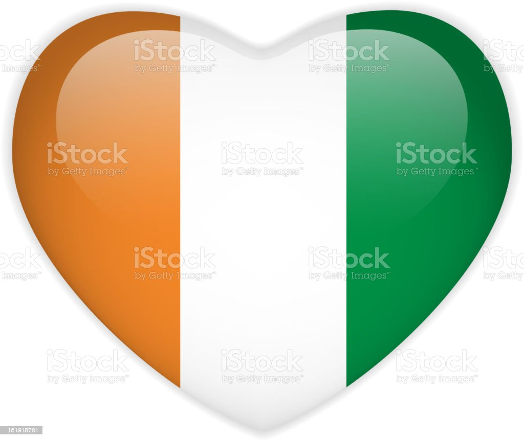 Ivory Coast Flag Heart Glossy Button royalty-free ivory coast flag heart glossy button stock vector art & more images of badge