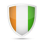 Ivory coast Flag Vector Shield Icon - Illustration