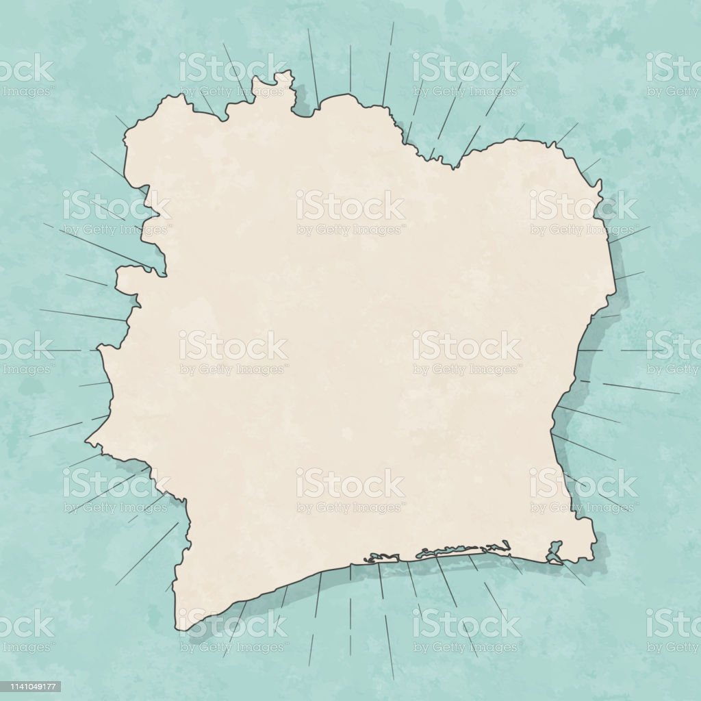 Ivory Coast Map In Retro Vintage Style Old Textured Paper Stock ...