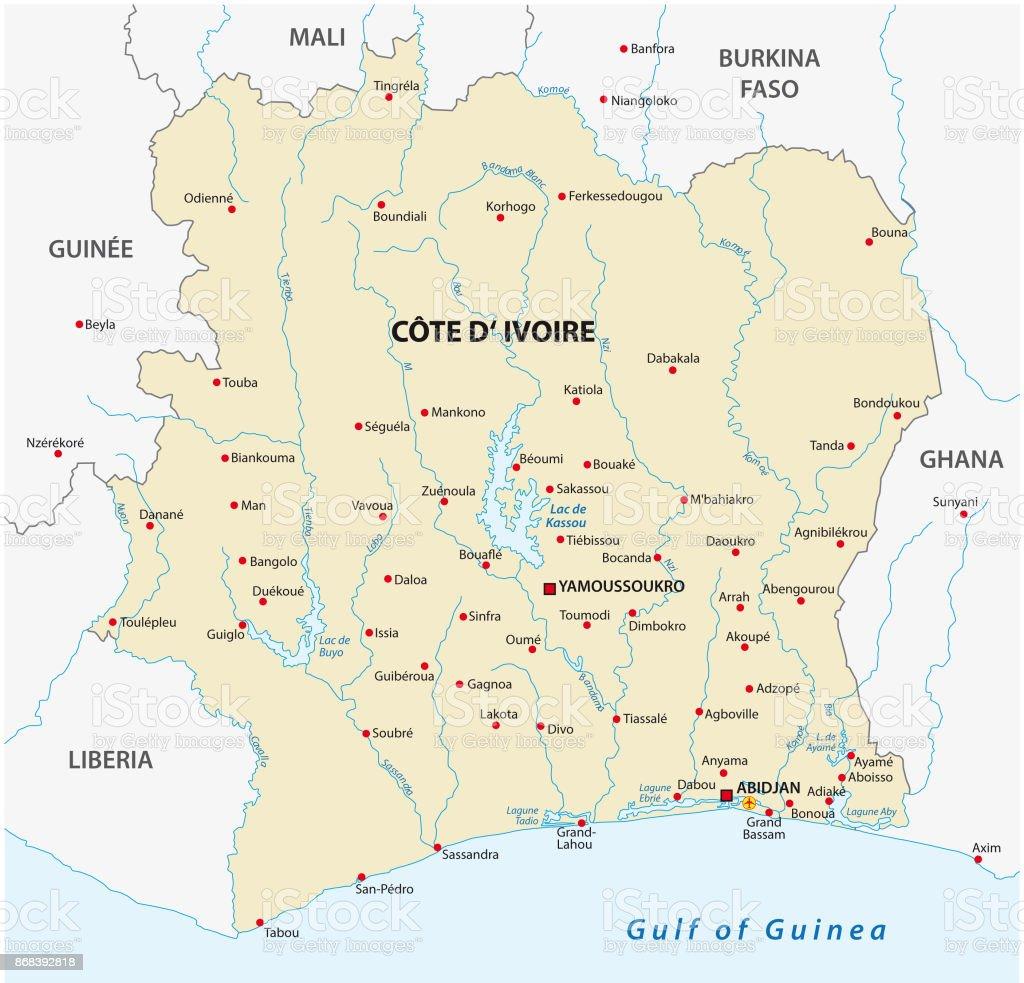 Ivory Coast Map Stock Vector Art 868392818 Istock
