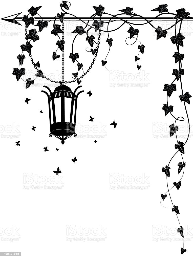 ivy border with street  lamp vector art illustration