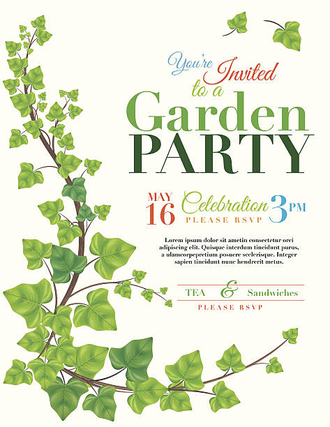 Ivy Garden Party Invitation Template vector art illustration