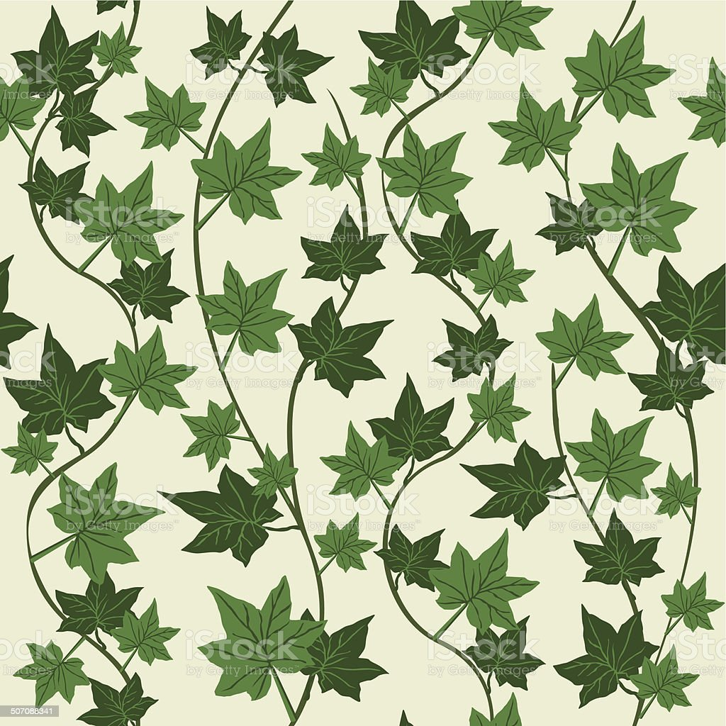 ivy seamless vector repeat pattern vector art illustration