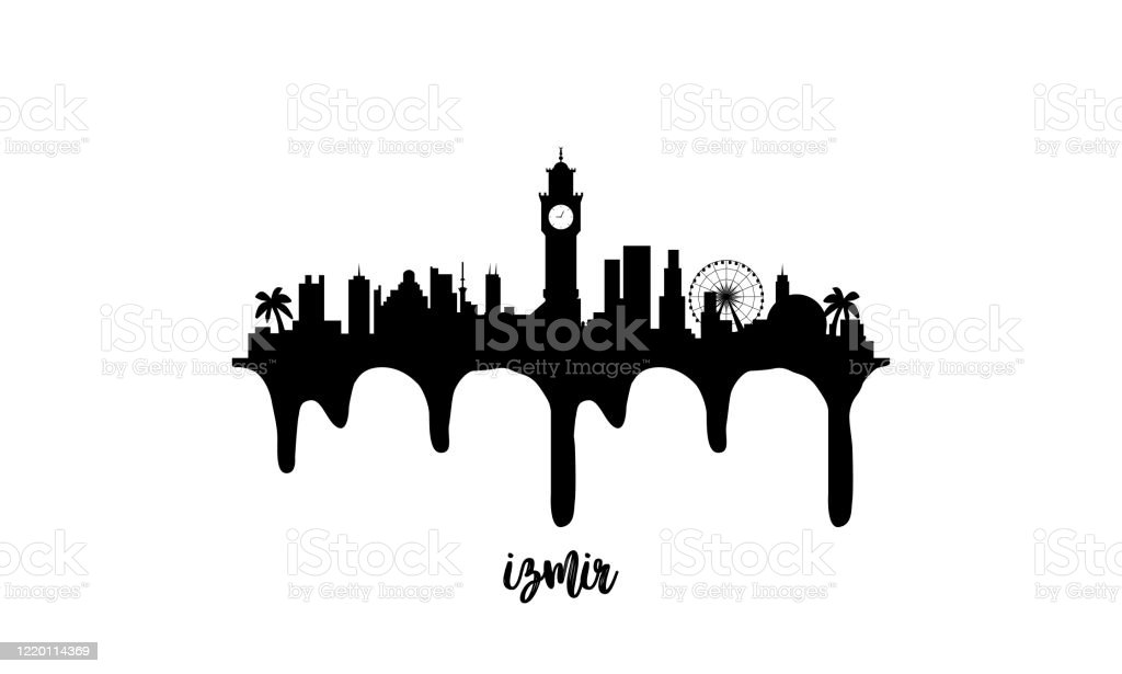 Izmir Turkey Black Skyline Silhouette Vector Illustration On White Background With Dripping Ink Effect Stock Illustration Download Image Now Istock