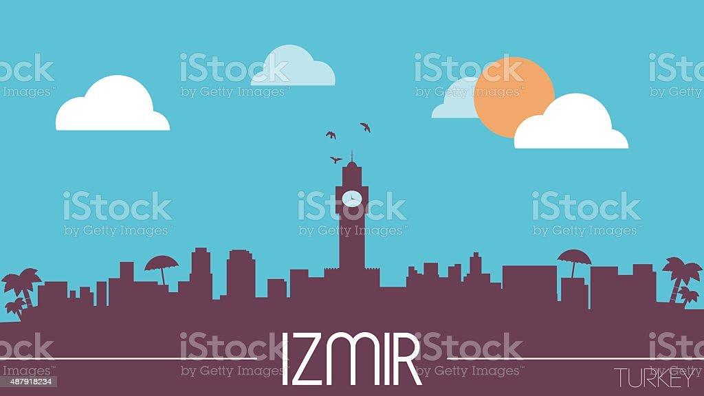 Izmir Turkey skyline silhouette vektör sanat illüstrasyonu