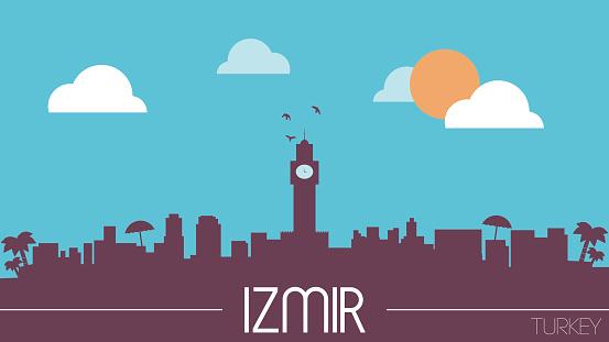 Izmir Turkey Skyline Silhouette Stock Illustration Download Image Now Istock