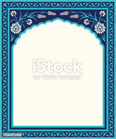 Floral template for your design. Traditional Turkish – Ottoman ornament. Iznik. Vector background.