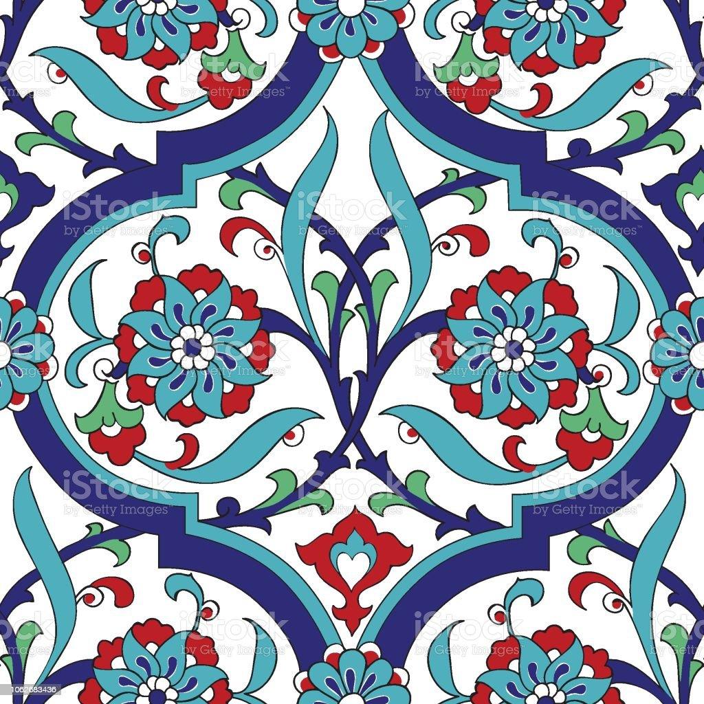 Iznik Fliesen Floral Nahtlose Musterdesign Stock Vektor Art Und Mehr